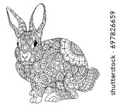 Stock vector zentangle doodle patterned fantasy bunny isolated design black on white detailed illustration 697826659