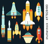 rocket ships start up flat... | Shutterstock .eps vector #697828480
