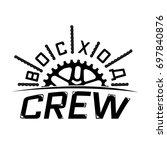 """voshod crew"" logo. street... | Shutterstock .eps vector #697840876"