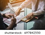 the man sign contract to borrow ... | Shutterstock . vector #697842550