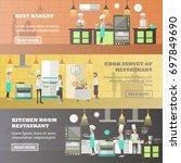 set of kitchen horizontal... | Shutterstock . vector #697849690