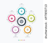 infographics template five... | Shutterstock .eps vector #697850713