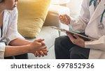 psychiatrist or gynecologist... | Shutterstock . vector #697852936