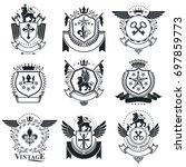 heraldic designs  vector... | Shutterstock . vector #697859773