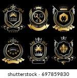 set of vintage elements ... | Shutterstock . vector #697859830