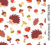cute autumn seamless pattern.... | Shutterstock .eps vector #697861468