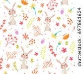 cute autumn seamless pattern.... | Shutterstock .eps vector #697861624