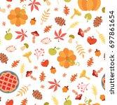 cute autumn seamless pattern.... | Shutterstock .eps vector #697861654