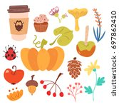set of autumn harvest and sweet ... | Shutterstock .eps vector #697862410