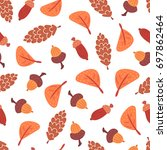 seamless autumn leaves  cones... | Shutterstock .eps vector #697862464