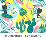 tropical seamless pattern with... | Shutterstock .eps vector #697863640