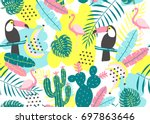 tropical seamless pattern with... | Shutterstock .eps vector #697863646