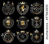 set of luxury heraldic... | Shutterstock . vector #697863850