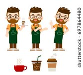 vector set of different poses... | Shutterstock .eps vector #697864480