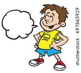 smiling boy with speech bubble... | Shutterstock .eps vector #697865929