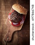 grilled hamburger with... | Shutterstock . vector #697866748