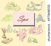 hand drawn set of spa... | Shutterstock .eps vector #697868020