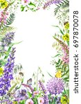 hand drawn wild flowers and... | Shutterstock . vector #697870078