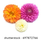 Stock photo three dahlias flowers isolated on white background flat lay top view pink orange yellow 697872766
