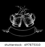two mugs of beer clink at a... | Shutterstock .eps vector #697875310