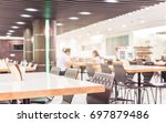 Stock photo modern interior of cafeteria or canteen with chairs and tables 697879486