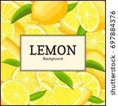 square label on citrus lemons... | Shutterstock . vector #697884376