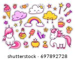 cool stickers set of unicorns ... | Shutterstock .eps vector #697892728