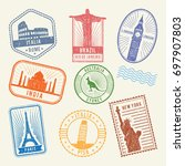 postal stamps with famous world ... | Shutterstock . vector #697907803