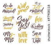 save the date. hand drawn... | Shutterstock . vector #697908118