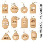discounts tags. drop price and... | Shutterstock . vector #697908130