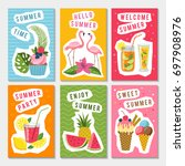 summer party labels set with... | Shutterstock . vector #697908976