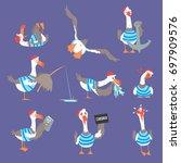 cartoon seagulls with different ... | Shutterstock .eps vector #697909576
