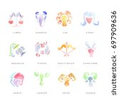 zodiac signs set of hand drawn... | Shutterstock .eps vector #697909636