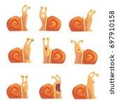 funny cartoon snails showing... | Shutterstock .eps vector #697910158