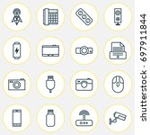 hardware icons set. collection... | Shutterstock .eps vector #697911844