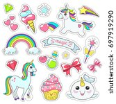 magic cute unicorn  stars on... | Shutterstock .eps vector #697919290