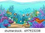 vector illustration of the sea. ... | Shutterstock .eps vector #697923238
