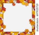 white paper sheet and fallen... | Shutterstock .eps vector #697925719
