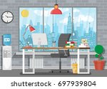 office building interior. desk... | Shutterstock .eps vector #697939804