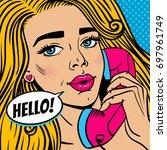 pop art female face. closeup of ... | Shutterstock .eps vector #697961749