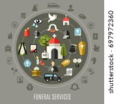 funeral services concept set... | Shutterstock .eps vector #697972360