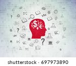 learning concept  painted red... | Shutterstock . vector #697973890