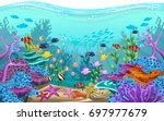 the beauty of underwater life... | Shutterstock .eps vector #697977679