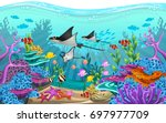 the beauty of underwater life... | Shutterstock .eps vector #697977709
