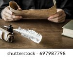 man reading an old letter. old... | Shutterstock . vector #697987798