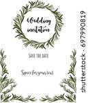 wedding invitation. eucalyptus... | Shutterstock .eps vector #697990819