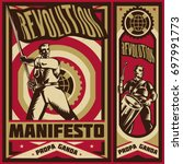 vintage propaganda poster and... | Shutterstock .eps vector #697991773