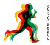 running man  colorful vector... | Shutterstock .eps vector #697991908