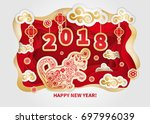 dog is a symbol of the 2018... | Shutterstock .eps vector #697996039