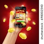 hand holding black smartphone...   Shutterstock .eps vector #698002540